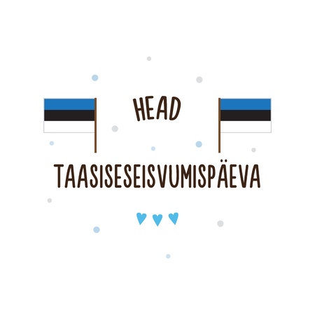 Independence Day of Estonia. Vector illustration. Text in Estonian - Happy Independence restoration day.