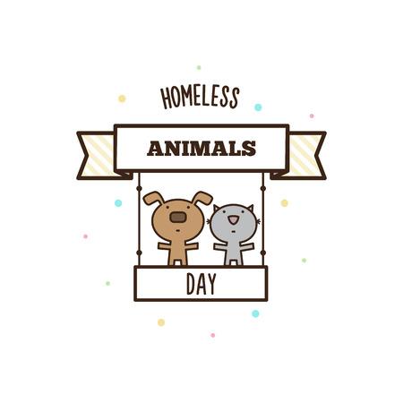 ホームレスの動物の日。ベクトル図  イラスト・ベクター素材