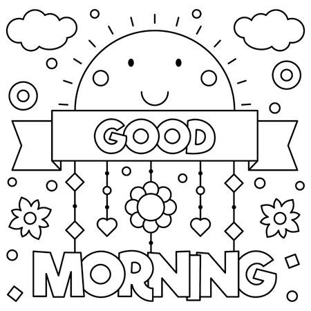 Goedemorgen. Kleurplaat. Vector illustratie.