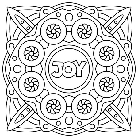 Joy. Coloring page. Black and white vector illustration 向量圖像