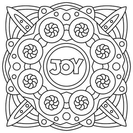 Vreugde. Kleurplaat. Zwart-witte vector illustratie Stock Illustratie