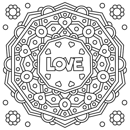 Love. Coloring page. Black and white vector illustration Фото со стока