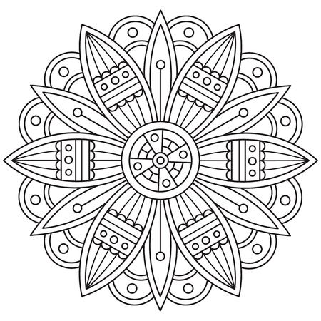 Mandala coloring page vector illustration.