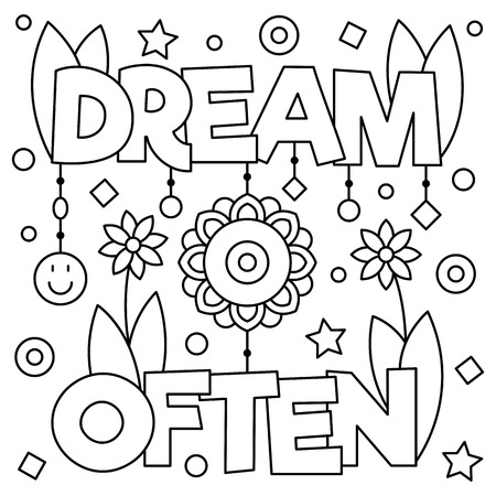 dream often coloring page vector illustration royalty free