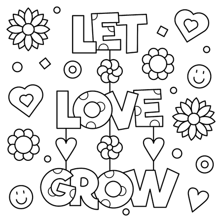 Let love grow. Coloring page. Vector illustration.