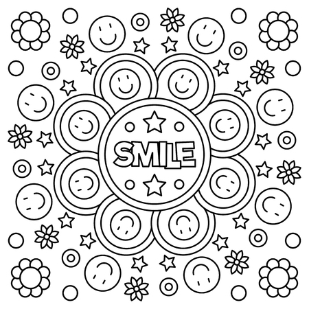 Smile coloring page vector illustration vector