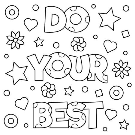 Fais de ton mieux. Coloriage Illustration vectorielle Banque d'images - 83877984