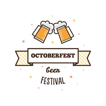 Beer festival. Octoberfest. Two glasses of beer. Vector illustration Illustration