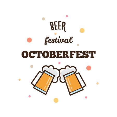 Beer festival. Octoberfest. Two glasses of beer. Vector illustration Иллюстрация