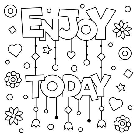 今日をお楽しみください。ページを着色。黒と白のベクトル図です。