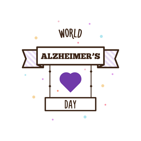 World Alzheimers day. Vector illustration of label and heart.