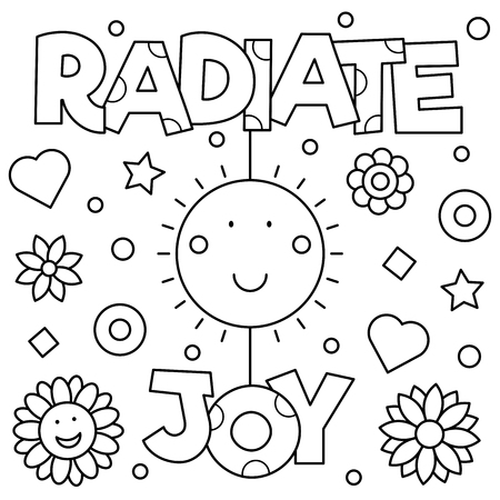 Radiate joy Coloring page. Vector illustration.