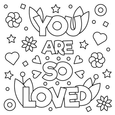 あなたはとても愛されています。ページを着色。ベクトルの図。