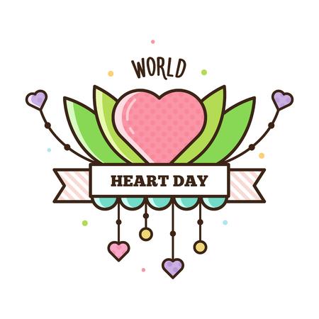 World Heart Day vector illustration.