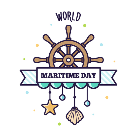 World Maritime Day. 向量圖像