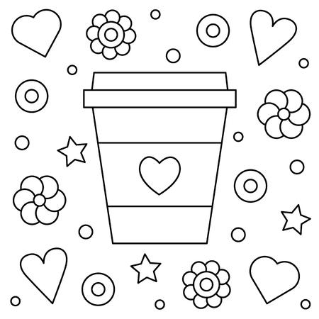 Koffie op. Kleurplaat. Vector illustratie. Stock Illustratie