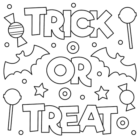 Trick or treat. Coloring page. Vector illustration.