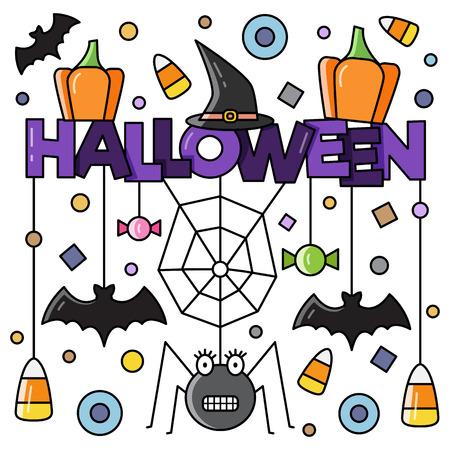 Halloween attributes. Vector illustration. Illusztráció