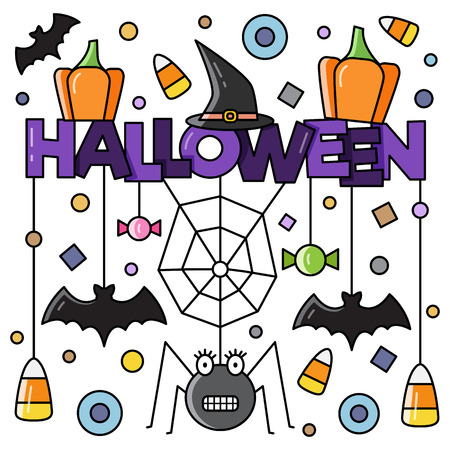 Halloween attributes. Vector illustration. Illustration