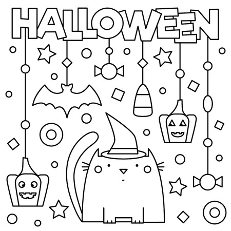 Halloween. Coloring page. Vector illustration.