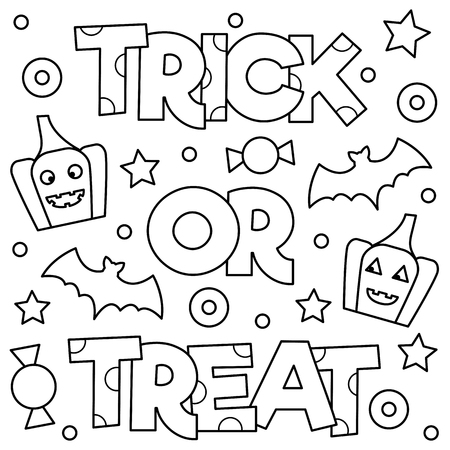 Trick or treat. Coloring page