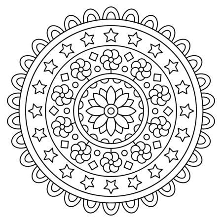 Mandala. Coloring page. Vector illustration. Imagens