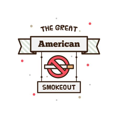 大きいアメリカの Smokeout。ベクトルの図。