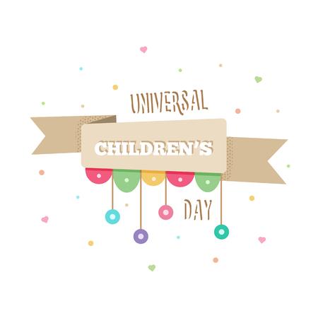 International Childrens Day on white background, vector illustration.