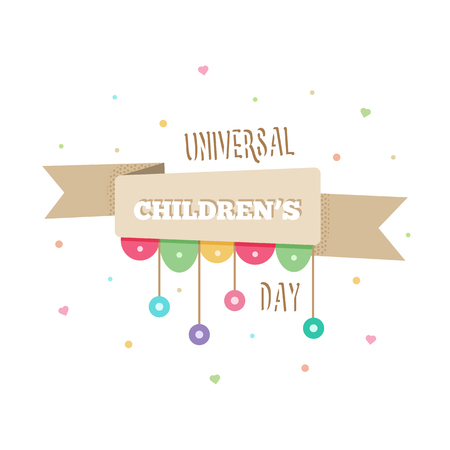 International Childrens Day on white background, vector illustration.
