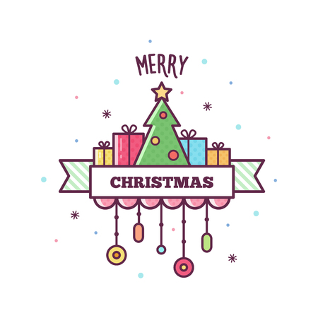 Merry Christmas greeting on white background, vector illustration.