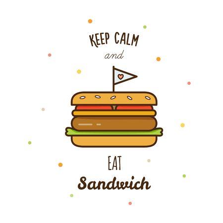 Sandwich. Vector illustration. Ilustração