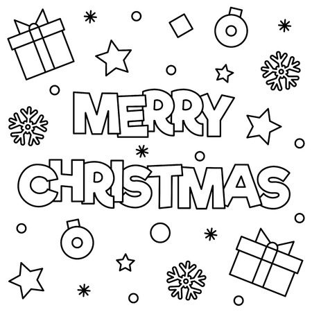 Merry Christmas. Coloring page. Black and white vector illustration Vettoriali