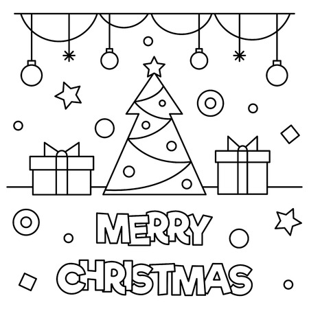Merry Christmas. Coloring page. Vector illustration. Ilustração