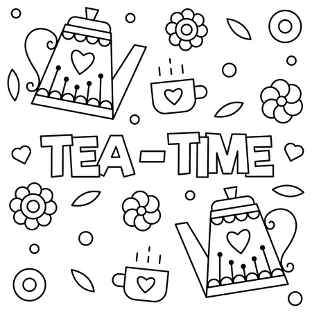 お茶の時間。ページを着色。ベクトルの図。