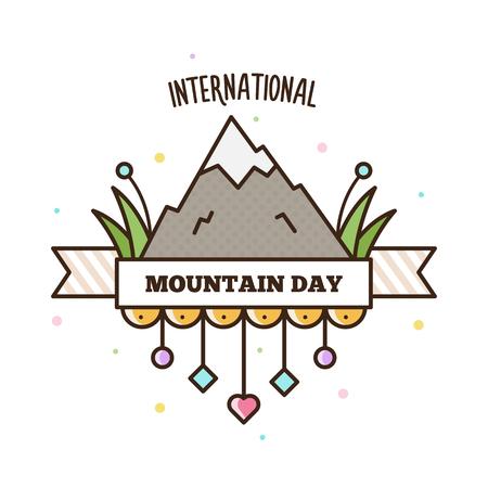 Journée internationale de la montagne. Illustration vectorielle Banque d'images - 90944714