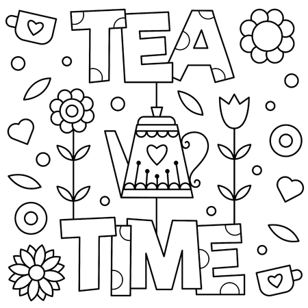 Tea time. Coloring page. Vector illustration.