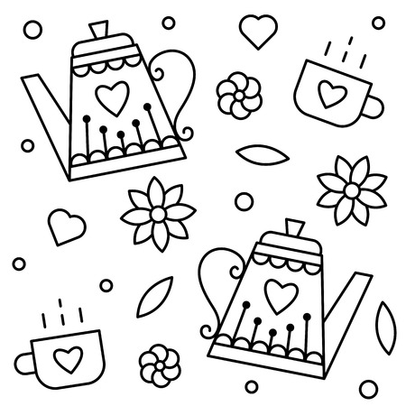 Teapots and cups. Coloring page. Vector illustration.
