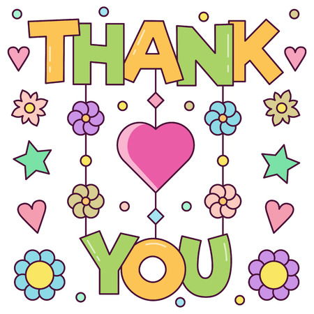 Thank you card. Vector illustration. Ilustracja