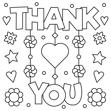 Thank you. Coloring page. Vector illustration. Standard-Bild