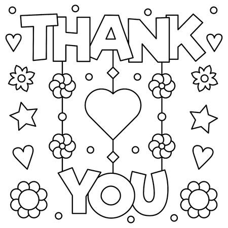 Thank you. Coloring page. Vector illustration. Foto de archivo