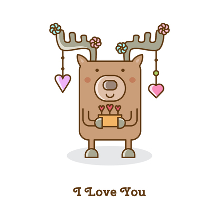 Deer  with hanging hearts. Vector illustration.