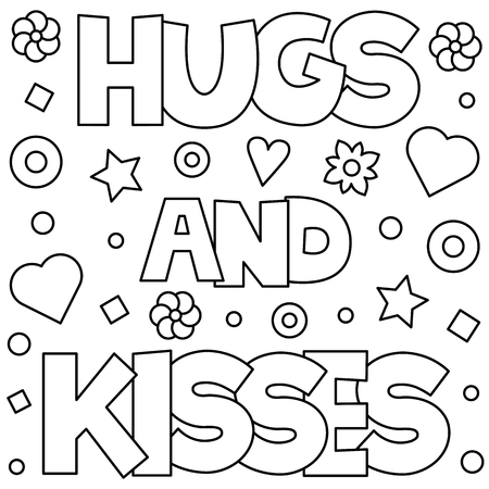 Hugs and kisses. Coloring page. Vector illustration.