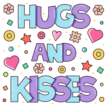 Hugs and kisses. Vector illustration.