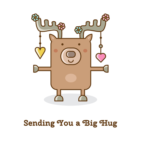 Sending you a big hug. Vector illustration of a deer.