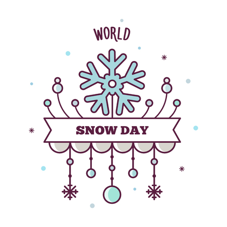 World snow day. Vector illustration.