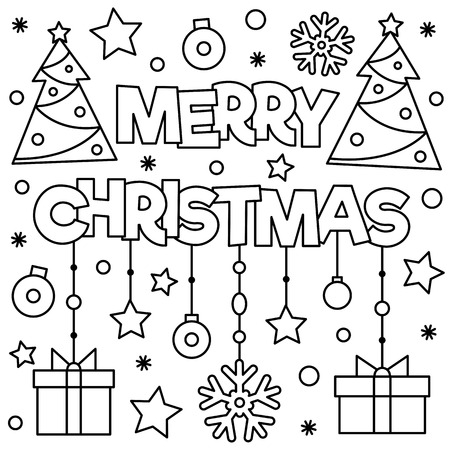 Coloring page. Black and white vector illustration of christmas trees, presents.