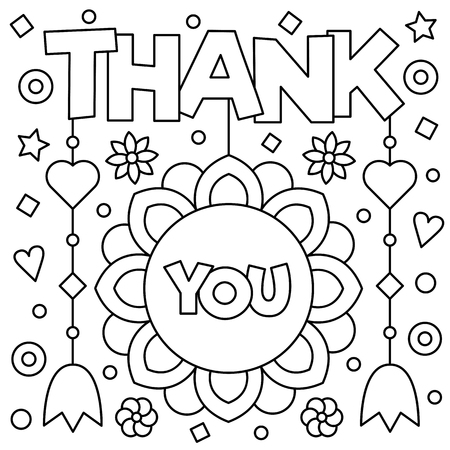 Thank you. Coloring page. Black and white vector illustration.