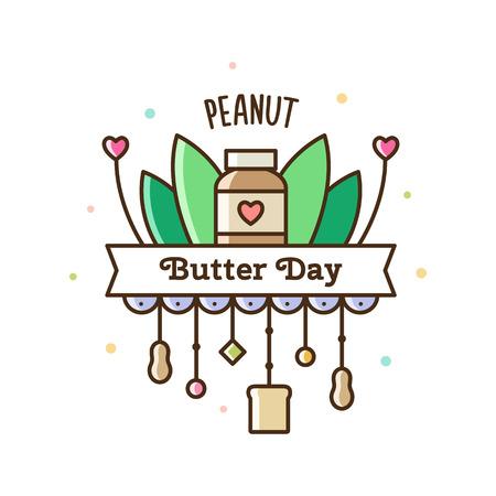 ピーナッツバターの日ベクトルイラストレーション。