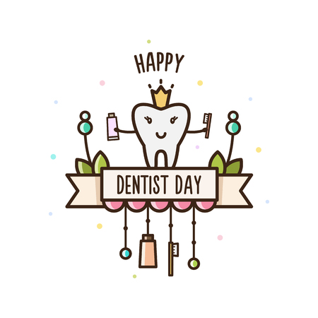 Happy Dentists Day. Vector illustration. Stock Vector - 92310385