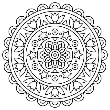 Mandala. Coloring page. Vector illustration. Stock Illustratie